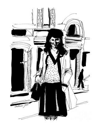 Girl On Street Art Print by Cristina Jaco