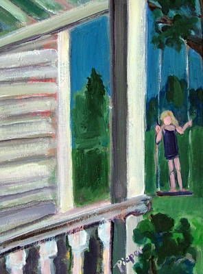 Girl On Swing Painting - Girl On Swing by Betty Pieper