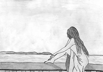Beach Sunset Drawing - Girl On The Balcony by Valentina Teneva