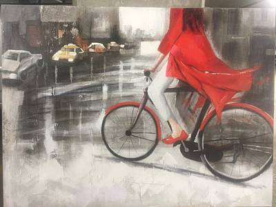 Girl On Bike Painting - Girl On The Bike by Unknown