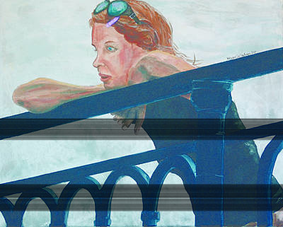 Art Print featuring the painting Girl On The Rail by Kevin Callahan
