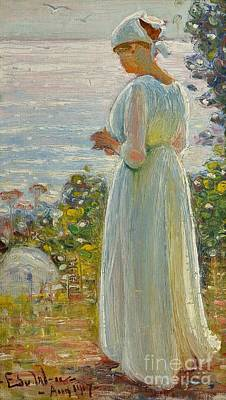 Girl Painting - Girl On The Shore by Celestial Images