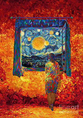 Digital Art - Girl On The Windows At Starry Night by Three Second