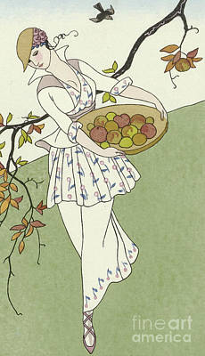 Straw Hat Drawing - Girl Picking Apples by Georges Barbier