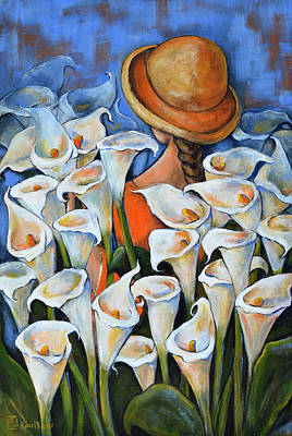 Arum Lily Painting - Girl Picking Arum Lilies by Kareni Bester