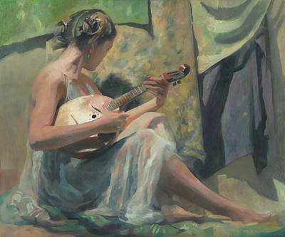 Girl Playing Domra  Original
