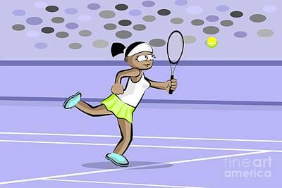 Athlete Digital Art - Girl Playing Tennis by Daniel Ghioldi