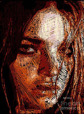 Digital Art - Girl Portrait In Sepia  by Rafael Salazar
