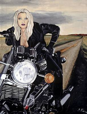 Motorcyle Painting - Girl Portrait On Motorcycle by Leeann Stumpf