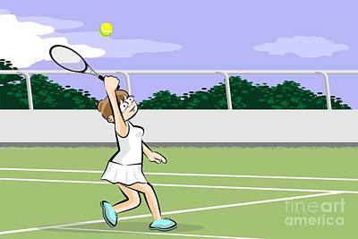Athlete Digital Art - Girl Raises Her Arm To Hit The Tennis Ball With Her Racket by Daniel Ghioldi
