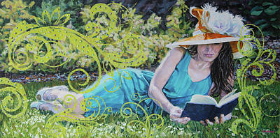 Painting - Girl Reading Book by Tommy Midyette