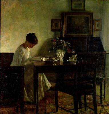 Table Painting - Girl Reading In An Interior  by Carl Holsoe