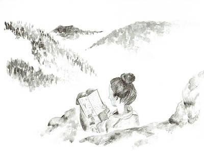 Girl Reading In The Mountains Original by Katrina Ryan
