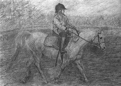 Drawing - Girl Riding A Horse 2 by Sami Tiainen