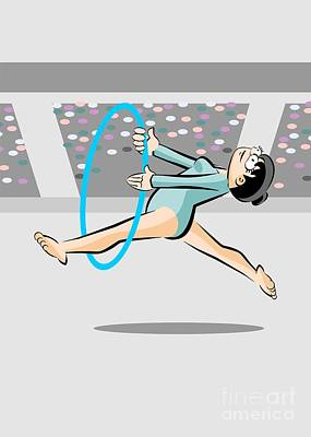 Athlete Digital Art - Girl Runs And Jumps Doing Her Exercise Routine With Hoops In The Olympics by Daniel Ghioldi