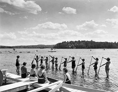 Swimsuit Photograph - Girl Scout Canoe Lessons by Underwood Archives