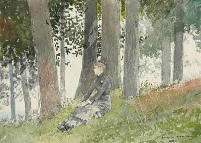 Painting - Girl Seated In A Grove by Winslow Homer