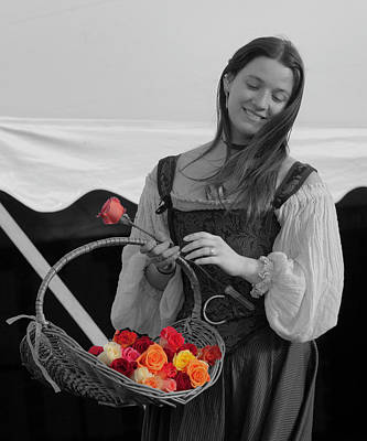 Photograph - Girl Selling Roses Selective Color by David Freuthal