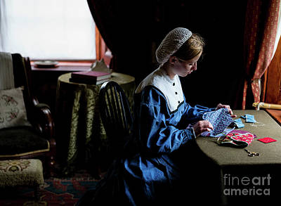 Photograph - Girl Sewing by M G Whittingham