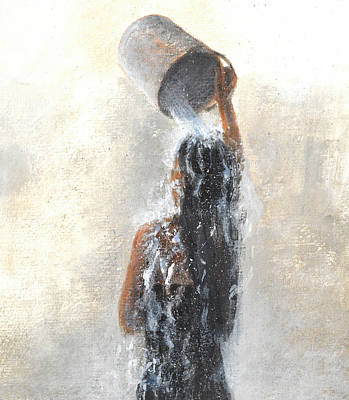 Bather Painting - Girl Showering by Lincoln Seligman