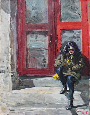 Red Door Painting - Girl Sitting At Red Doorstep by Ylli Haruni