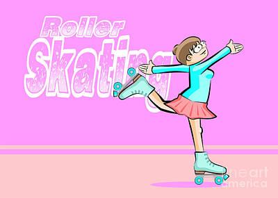 Roller Skates Digital Art -  Girl Skating by Daniel Ghioldi