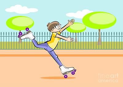 Skates Digital Art - Girl Skating In The Square by Daniel Ghioldi
