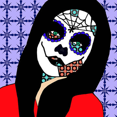 Mixed Media - Girl Skeleton Zombie Day Of The Dead Art by Elizavella Bowers