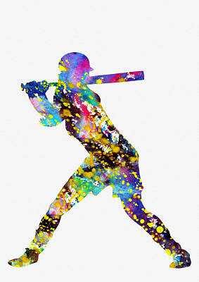 Softball Wall Art - Digital Art - Girl Softball Player by Erzebet S