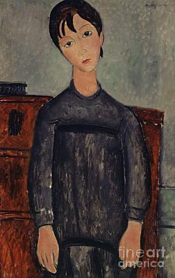 Painting - Girl Standing In A Black Pinafore, 1918  by Amedeo Modigliani