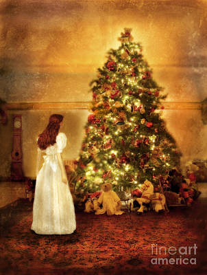 Girl Standing In Wonder By Christmas Tree Art Print