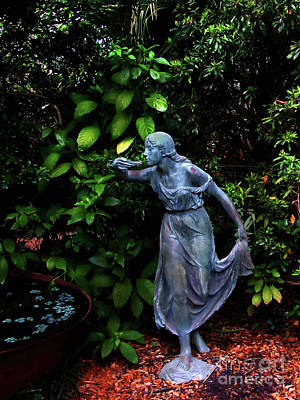 Photograph - Girl Statue In Garden by Frances Ann Hattier