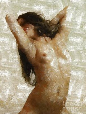 Nudist Painting - Girl Stretching By Mary Bassett by Mary Bassett