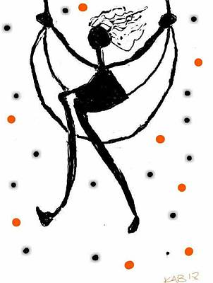 Digital Art - Girl Swinging On The Moon 2 by Kathy Barney