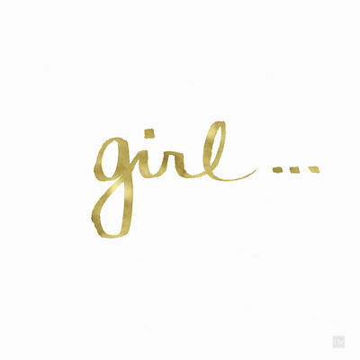 Girl Talk Gold- Art By Linda Woods Art Print by Linda Woods