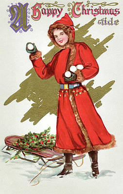 Girl Throwing Snowballs In A Christmas Landscape Art Print