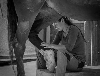 Chiropractor Photograph - Girl Treats Horse by Sebastian Graf