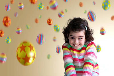 Laugh Photograph - Girl Under Eggs by Carlos Caetano