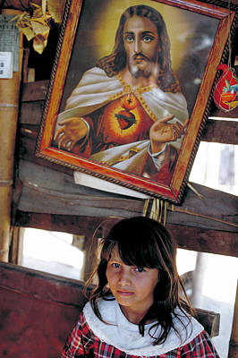 Photograph - Girl Under Jesus In Columbia by Carl Purcell