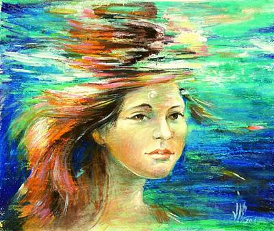 Naiad Painting - Girl Underwater-from The Naiad Series .modern Painting Of Underwater Environment. by Vali Irina Ciobanu