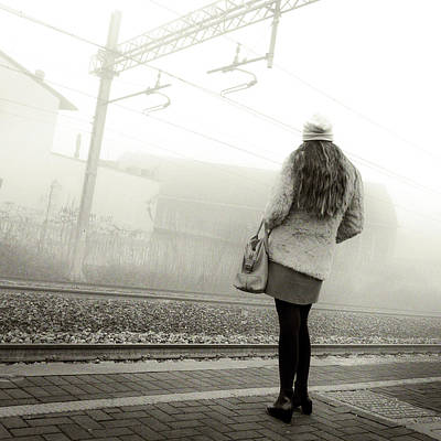 Photograph - Girl Waiting The Train by Alfio Finocchiaro