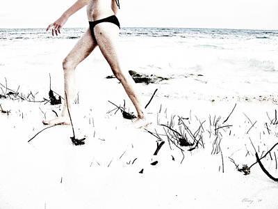 Girl Walking On Beach Art Print