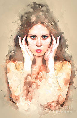Digital Art - Girl Watercolour by Jack Torcello