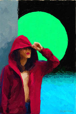 Digital Art - Girl Wearing A Maroon Hoodie by Serge Averbukh