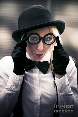 Comics Royalty-Free and Rights-Managed Images - Girl Wearing Silly Glasses by Jorgo Photography - Wall Art Gallery