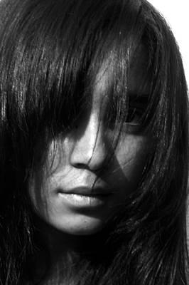 Girl Who Hid Behind Her Hair Art Print by Maria Isabel Garcia