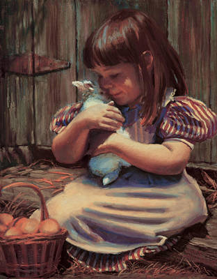 Farm Scene Painting - Girl With A Bunny by Jean Hildebrant