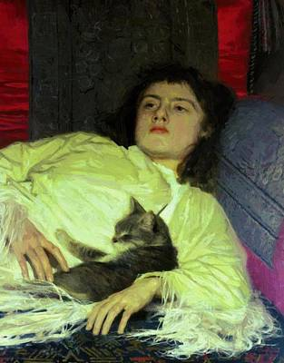 Girl With A Cat 1882 Art Print