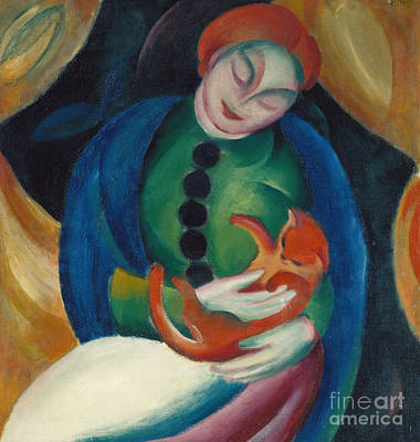 Abstract Movement Painting - Girl With A Cat II by Franz Marc