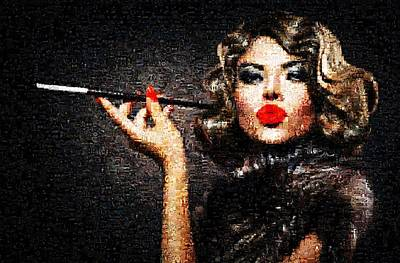 Cat And Butterfly Digital Art - Girl With A Cigar by James Jones
